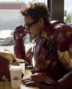 Tony Stark / Iron Man having a coffee