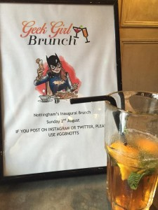 Geek Girl Brunch poster and drink