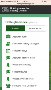 Nottinghamshire County Council responsive website