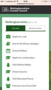 Nottinghamshire County Council responsive website